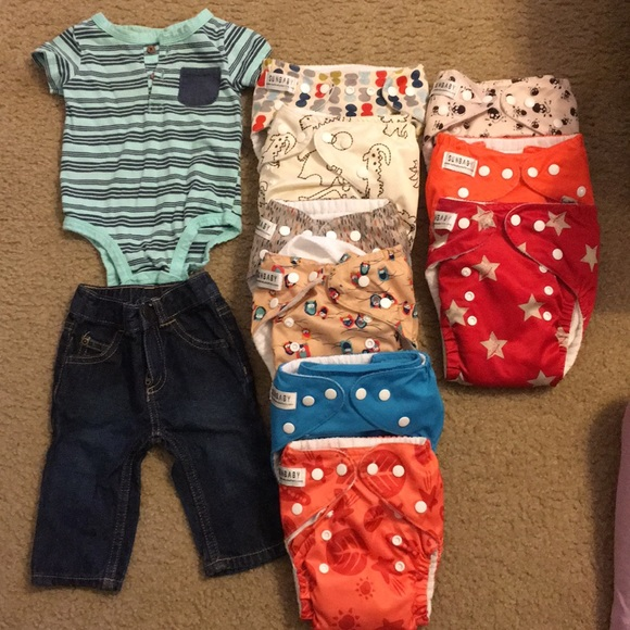 Carter's Other - Baby clothes 3mos 6mos and cloth diapers